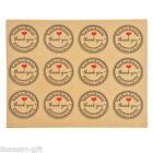 10Sheets thank you Heart Sticker Self Adhesive Label Gift Decor Kraft Paper