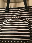 Kate Spade Black and White Striped Large Bag With Outside Zipper Pouch