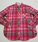 Victorias Secret Flannel Casual Button Up S Pink Red Plaid Check Silk Trim
