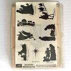 Nativity Silhouette Rubber Stamp Set 8 Stampin Up Christmas Wood Mounted 1997