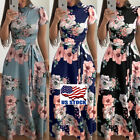 Womens Summer Boho Floral Short Sleeve Long Maxi Dress Party Beach Sundress USA