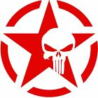 Army Star Punisher Skull Jeep Military Decal Sticker 54 x 54 2PCS RED