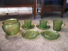 LOT OF AVOCADO GREEN SORENO PATTERN GLASSWARE, PLANTER, CREAMER, CUPS, SAUCERS