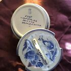 Delft butter tub with lid hand painted in blue floral design