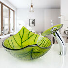 FA Oval Green Leaf Glass Wash Basin Bathroom Vessel Sinks Waterfall Faucet Drain