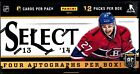 2013-14 Panini Select Hockey Factory Sealed Hobby Box (4 Auto's Box)
