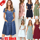 Womens Ladies V Neck Dress Beach Button Pocket Midi Swing Sundress Holiday Dress