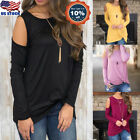 Womens Cold Shoulder Crew Neck Cut Out Long Sleeve Sweater Tops Blouse Shirt US