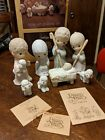 Precious Moments 9 Pc Nativity Set Come Let Us Adore Him Missing Black Sheep