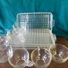 Diamond Pattern Glass serving trays set of 4 with cups