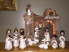 Hand Crafted Nativity Scene  Unique Stable France  Ornate Figures Mexico
