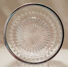 – Clear Glass Diamond Pattern Silver Rimmed Bowl (Made in England)
