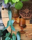 Set Of Two Vintage Amber Glass Goblets Chalice Glass Drinking Wine Glasses