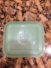 Vintage Fire king Jadeite Green Square Refrigerator Jar Lid