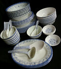 46 Piece Melamine Plastic BLUE Dinner Gift Set Serving Bowl Plate Platter Spoon