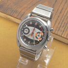 Vintage Chronograph Dugena Orange Accent Watch Stainless Steel Fully Functional