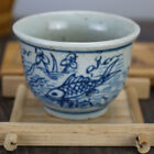 China old hand-carved porcelain Blue and white fish pattern Kung fu tea cup b02