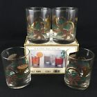 Set of 4 VTG Double Old Fashioned Glasses by Culver Yule Horn Christmas Gold