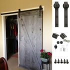 6FT Antique Country Style Steel Sliding Barn Door Closet Hardware Frosted Black