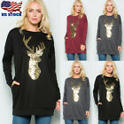 Womens Christmas Sequin Deer Long Sleeve T Shirt Casual Tops Blouse Pullover US