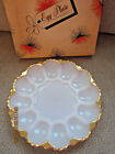 Vintage Anchor Hocking never used white milk glass gold trim egg plate 10