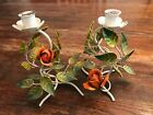 Italian Vintage Pair Tole Ware Metal Flower Roses Candle holders Shabby Chic