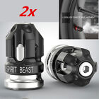 2x CNC Motorcycle Tire Valve Cap Cover Wheel Decoration Accessories Black+Gray