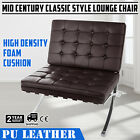 Mid Century Classic Style Leather Lounge Chair hand sewn cushion Steel Frame