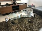 Mid Century Modern Stainless Steel Glass Kidney Shaped Coffee Table $3400 Italy