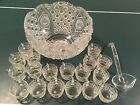 Vintage LE Smith Glass Co Daisy and Button Punch Bowl with 18 Cups And Ladle