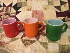 3 Vintage Milk Glass Orange Peel Texture Mugs Green Red Orange Retro
