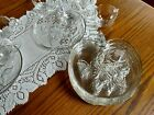 Vtg (8) Hazel Atlas Glass Clear Apple Blossom Snack Luncheon Tea  Plate and Cups