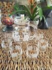 ANTIQUE VINTAGE JUICE PITCHER W/ 6 GLASSES FROSTED GLASS MINT CONDITION!