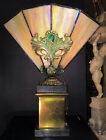 FINE ANTIQUE FRENCH ART NOUVEAU GILT BRONZE CARMEL SLAG GLASS NOVELTY LAMP C1910