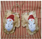RED HAT SNOWMAN Mitten Ornaments HP Ornie Folk Art Primitive Country Christmas