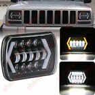 1X 7X5 LED Square Headlight DRL Turn Signal Fit Wrangler YJ Cherokee XJ Trucks