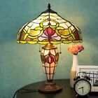 Tiffany Style Table Lamp Victorian Double Lit Desk Lighting Stained Glass Home