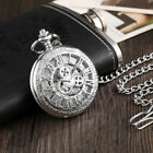 Hollow Silver Gear Luxury Mechanical Pocket Watch Necklace Men Steampunk Watch