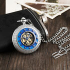 Vintage Silver Steampunk Mechanical Pocket Watch Men Star Surrounded Fob Chain