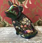 Fenton Amethyst Carnival Glass Handpainted Cranberry Blossom 5021NA Pig Signed