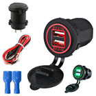 Red LED 4.8A Dual USB Motorcycle ATV Fast Charger Power Adapter Universal +Cable