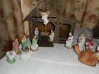 16 PC Vntg Chalkware Christmas Nativity Scene w Cardboard Lighted Stable Manger
