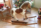 RARE ANTIQUE LATE 1800'S VICTORIAN HORSE HAIR & HIDE ROLLER ROCKING PULL HORSE