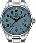 PASOY Men's Tritium Watch Blue Light Swim Sapphire Glass Stainless Steel Analog