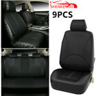 Car Seat Cover Full Set Front Rear Seat Cushion Mat Protector Black PU Leather L