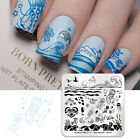 BORN PRETTY Nail Stamping Plate Square Jellyfish Wave Stamp Plate Sea World S003