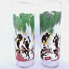 2 Vintage African Tiki Native Dancers Glasses 1950's Federal Barware