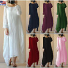Plus Size Women Retro Cotton Linen Long Gown Kaftan Solid Casual Loose Dress USA