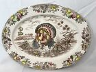 VINTAGE 185 TOM TURKEY 1953 Thanksgiving Tray Platter TRANSFERWARE Oval Japan