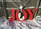 Joy Sign with Nativity Scene Wood Outdoor Decoration Joy Sign with Nativity